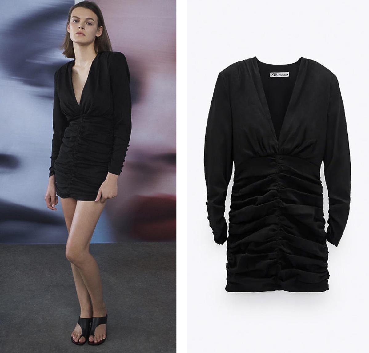 Czarna sukienka optycznie wyszczuplająca z Zary
