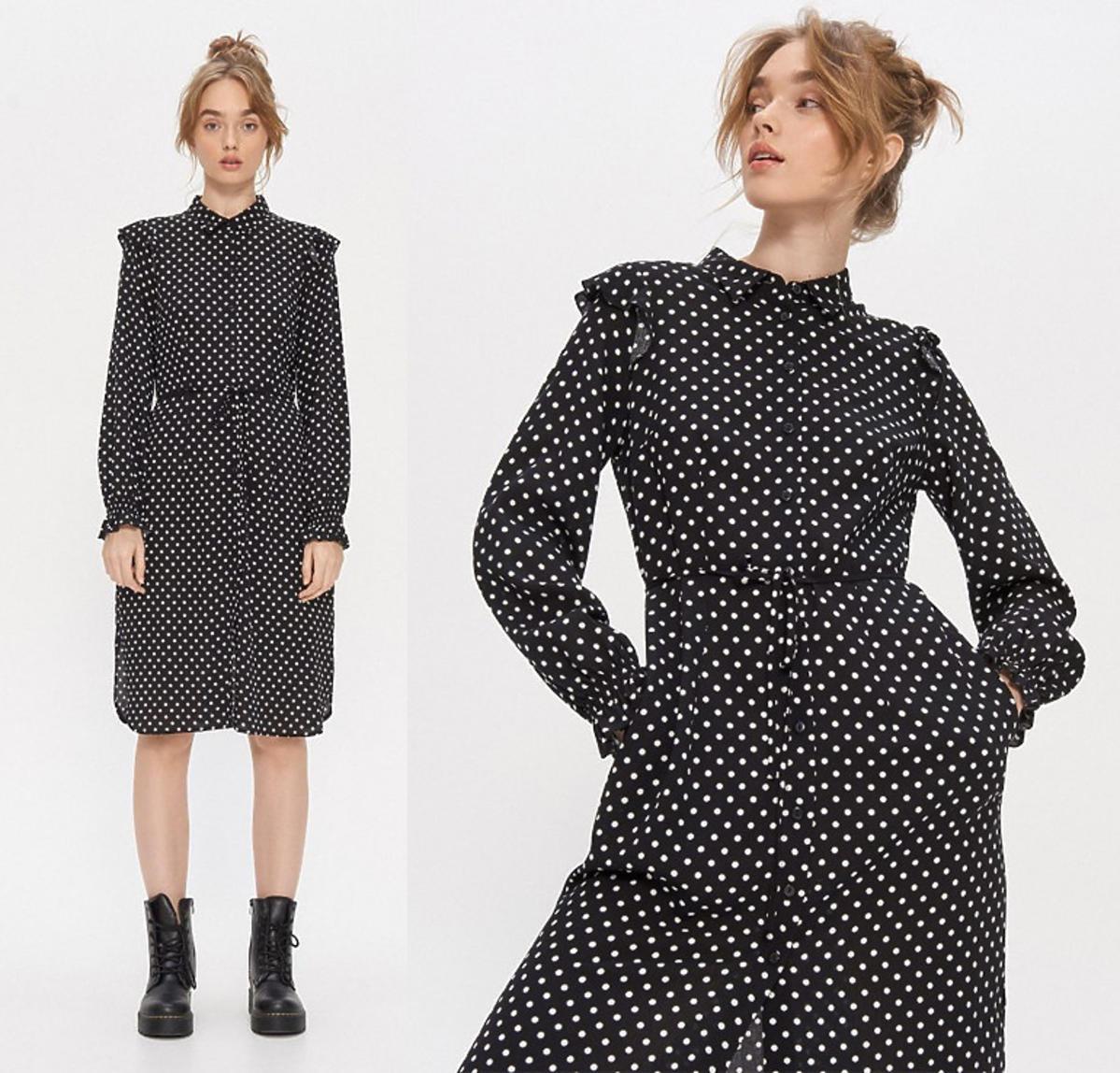 Czarna sukienka w białe groszki, House, 149,99 zł