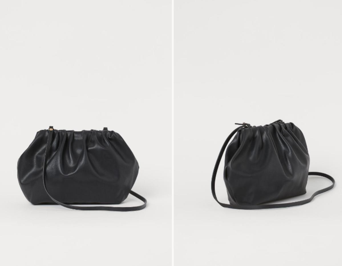 Czarna torebka z H&M w stylu Bottega Veneta