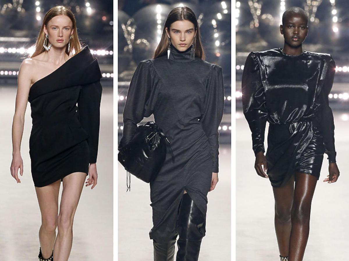 Czarne sukienki z watowanymi ramionami na pokazie Isabel Marant jesień/zima 2020