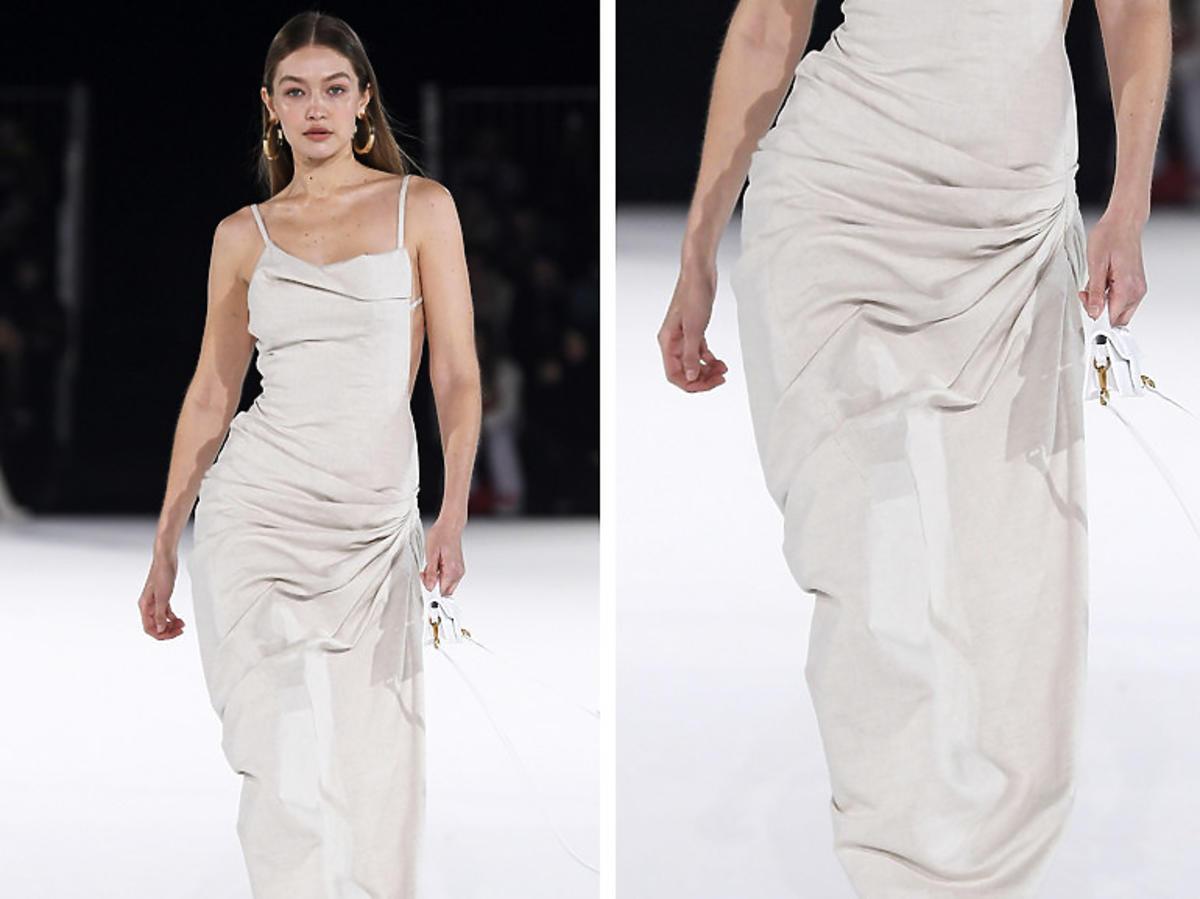 Gigi Hadid w sukience z marszczeniami, Jacquemus, jesień/zima 2020