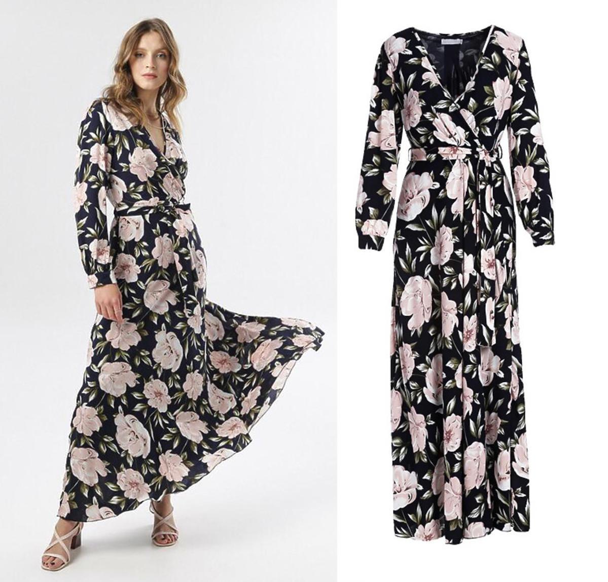 Granatowo-Różowa sukienka Joyous, Born2Be, 144,99 zł