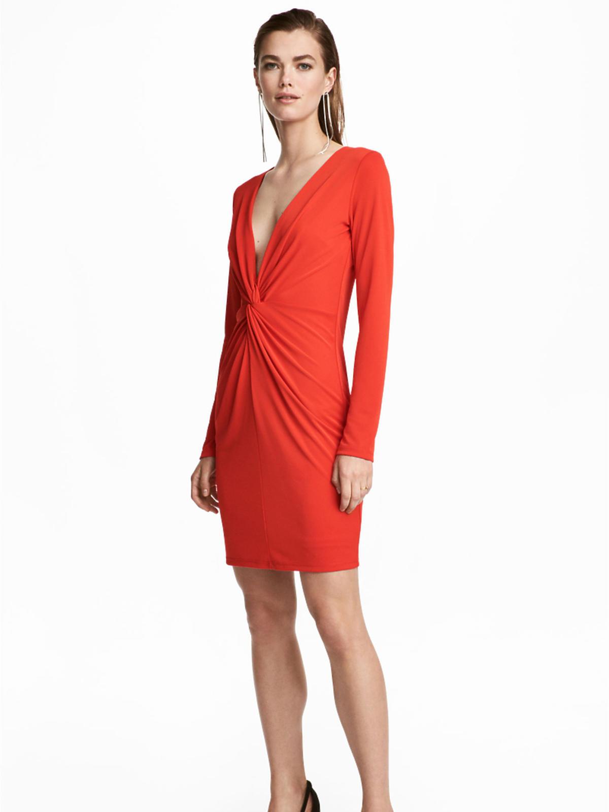 H&M, czerwona sukienka na walentynki, 118,90 zł