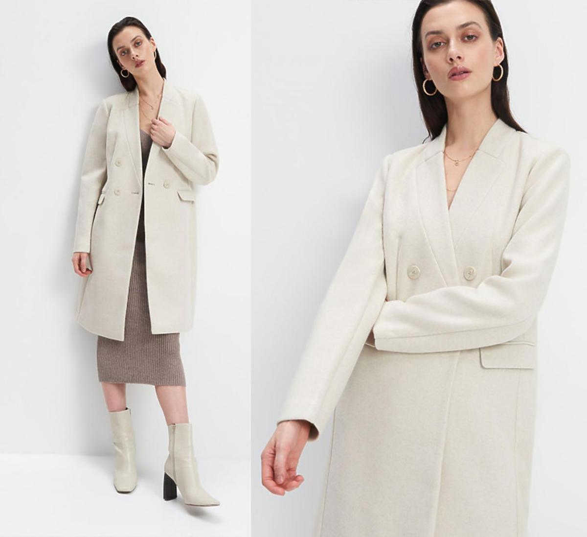Jasnobeżowy dwurzędowy płaszcz, Mohito, 139,99 zł