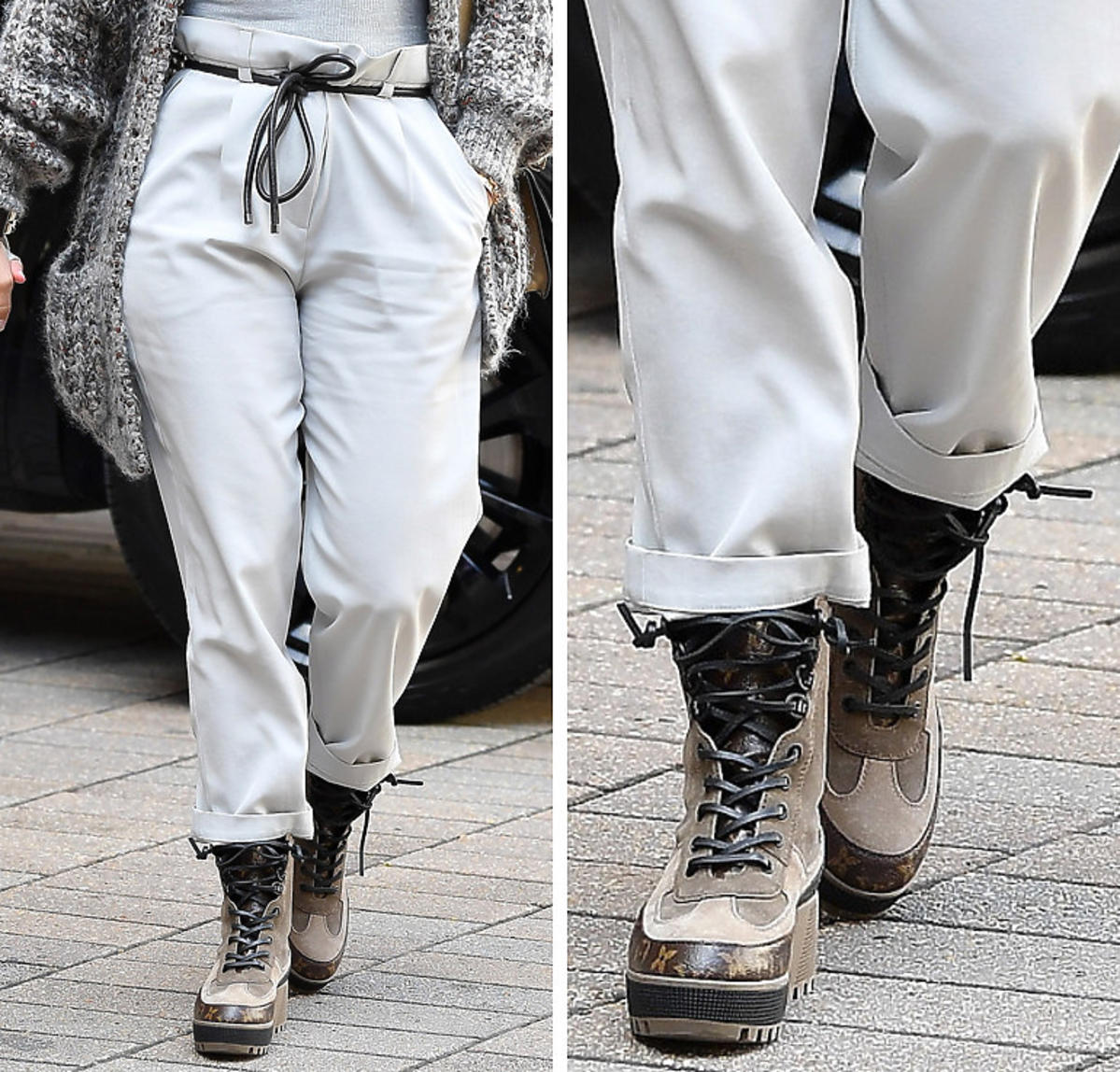 Jennifer Lopez w spodniach paperbag