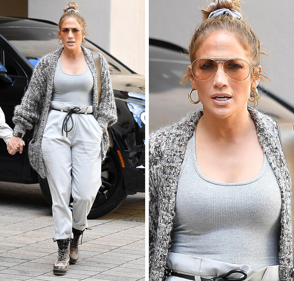 Jennifer Lopez w spodniach paperbag