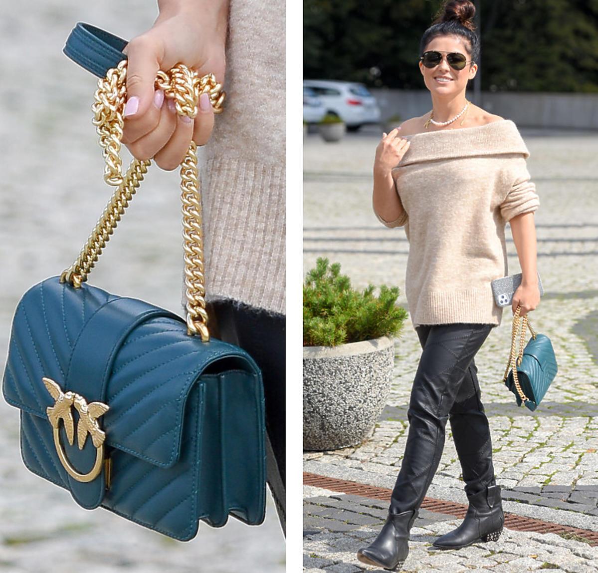 Kasia Cichopek w beżowym swetrze i z morską torebką Pinko