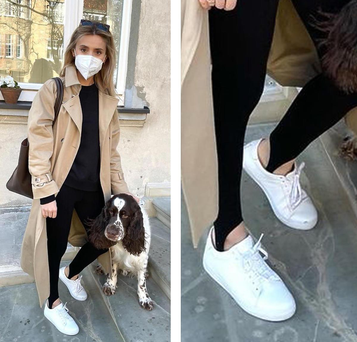Kasia Tusk w beżowym płaszczu na wiosnę MLE i białych adidasach