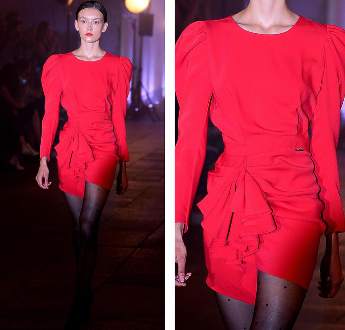Kasia Warnke w czerwonej sukience na pokazie Mariusza Przybylskiego