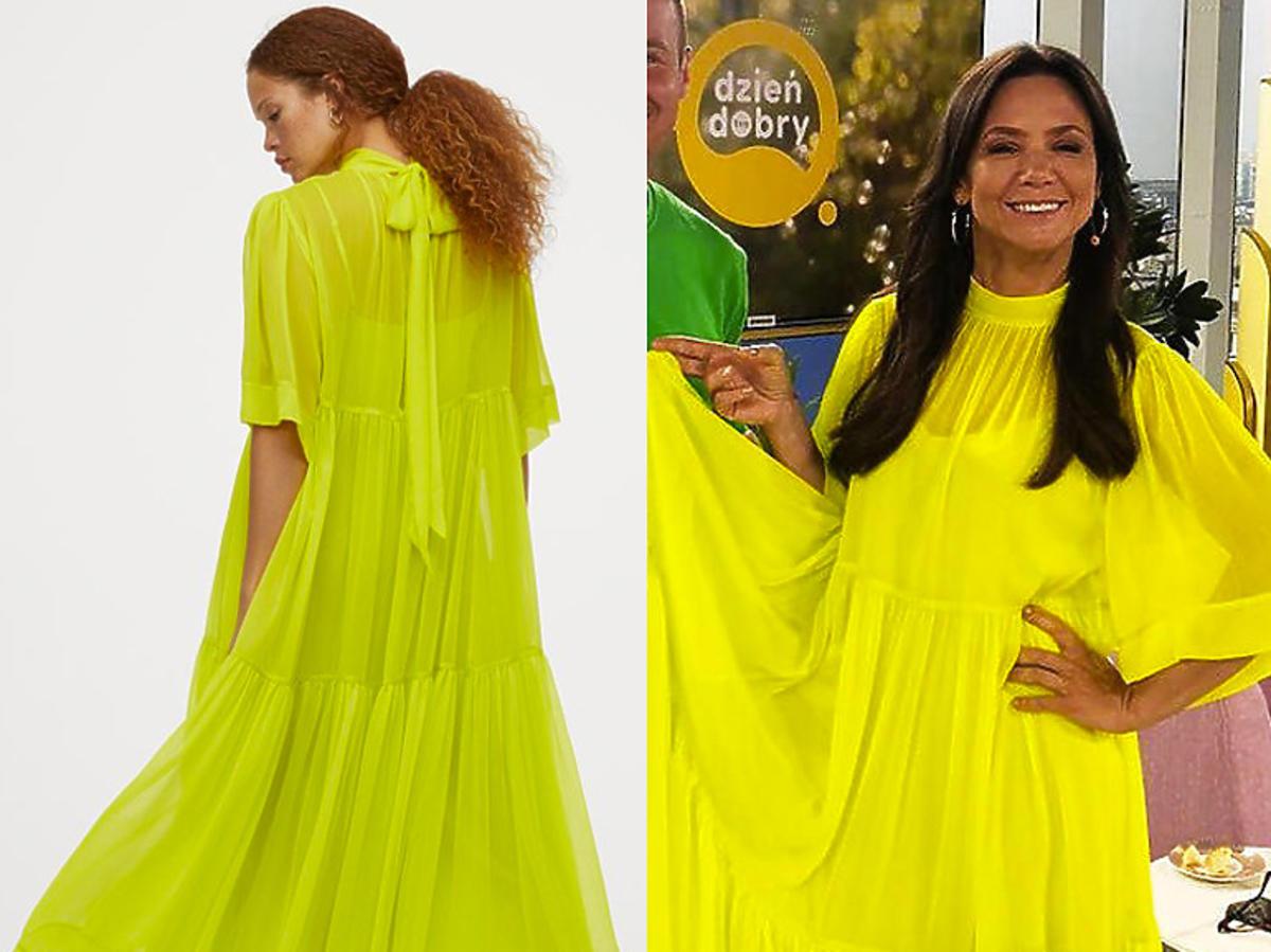 """Kinga Rusin w """"Dzień Dobry TVN"""" w neonowej żółtej sukience maxi z H&M!"""