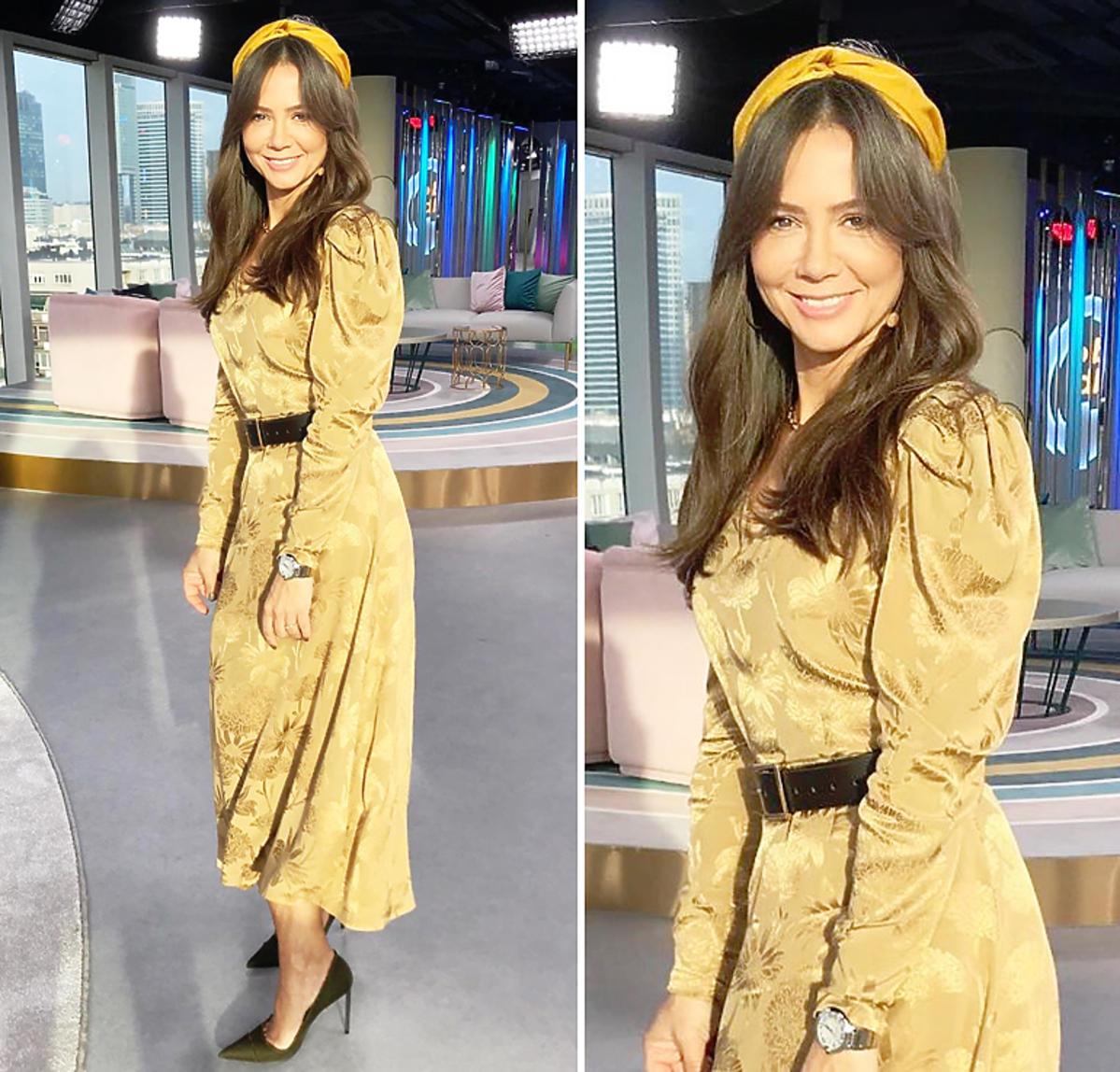 Kinga Rusin w złotej sukience w kwiaty