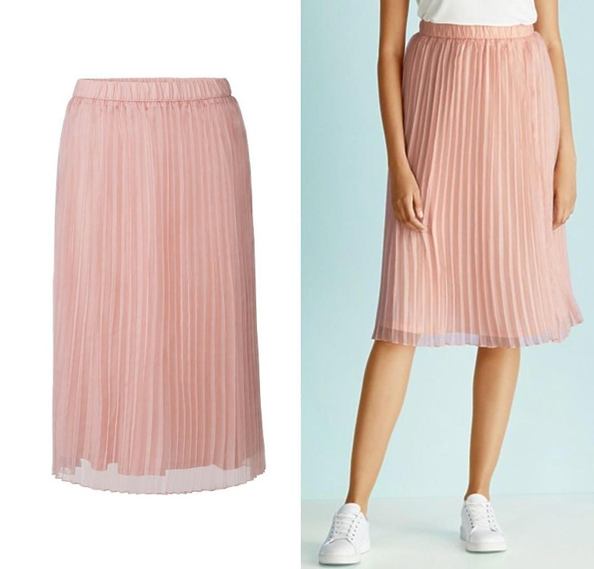 Lidl, plisowana spódnica w kolorze pudrowego różu