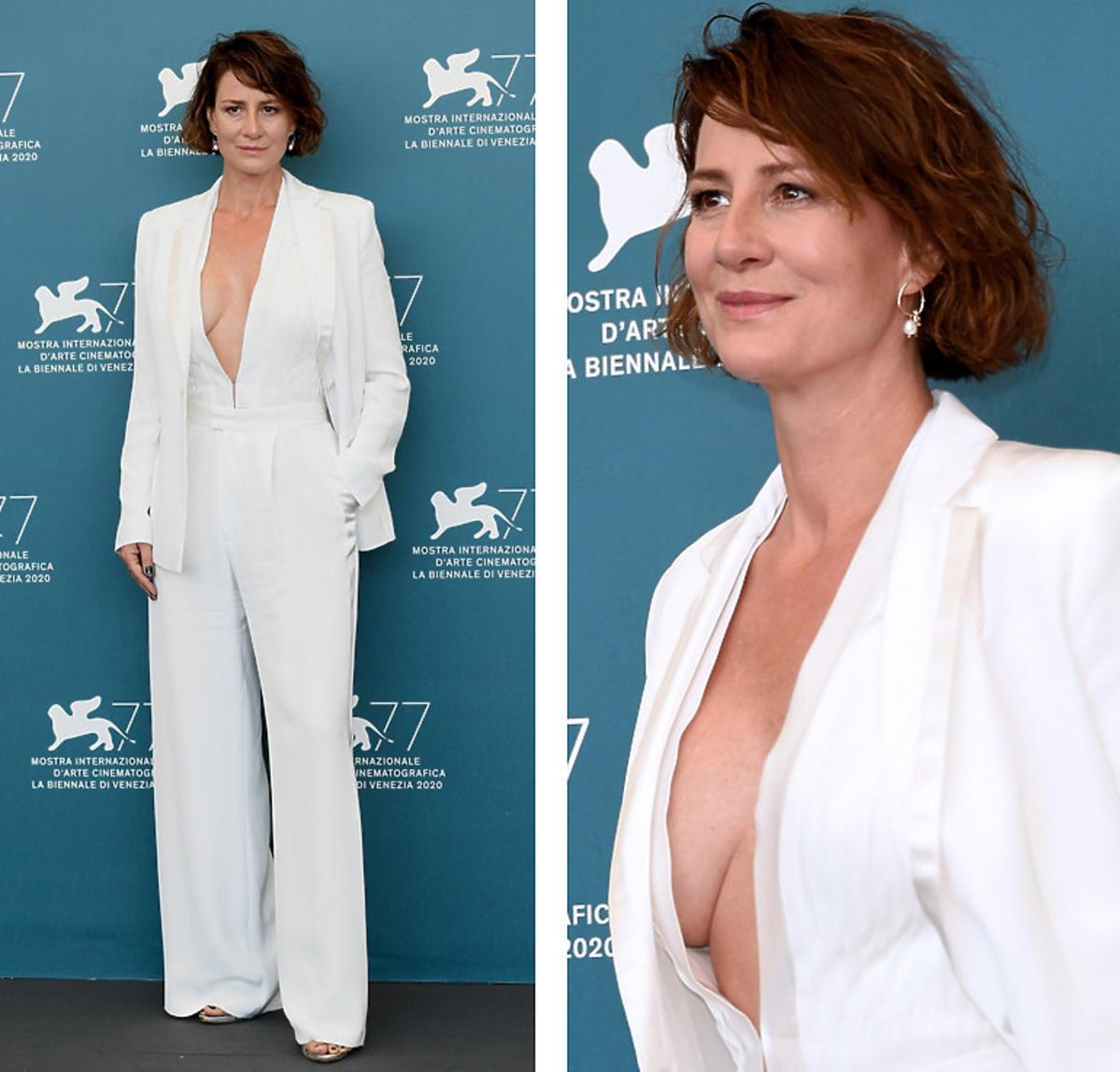 Maja Ostaszewska na Festiwalu Filmowym Wenecji odsłoniła dużo ciała w białym garniturze