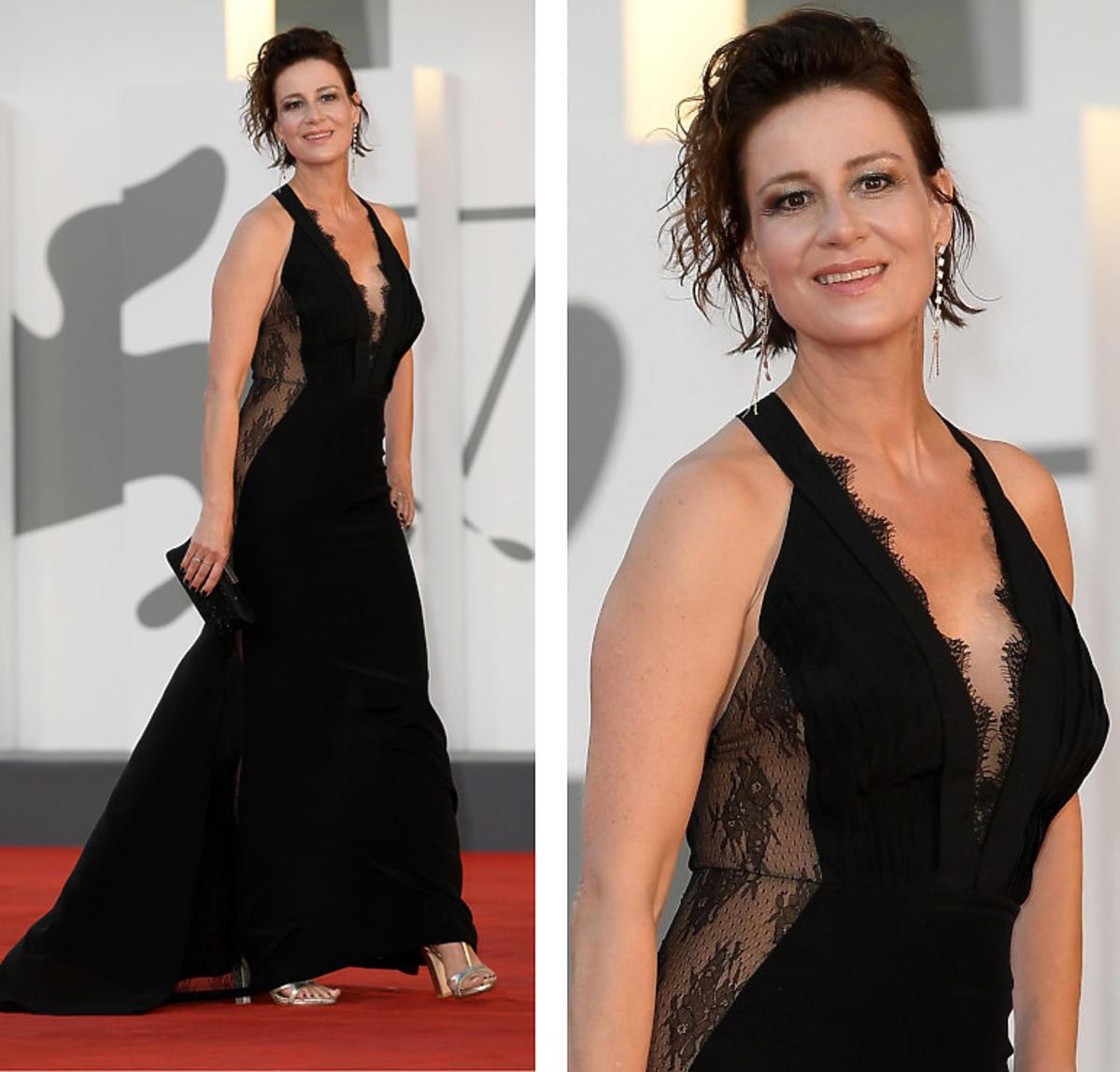 Maja Ostaszewska w czarnej sukni na Festiwalu w Wenecji