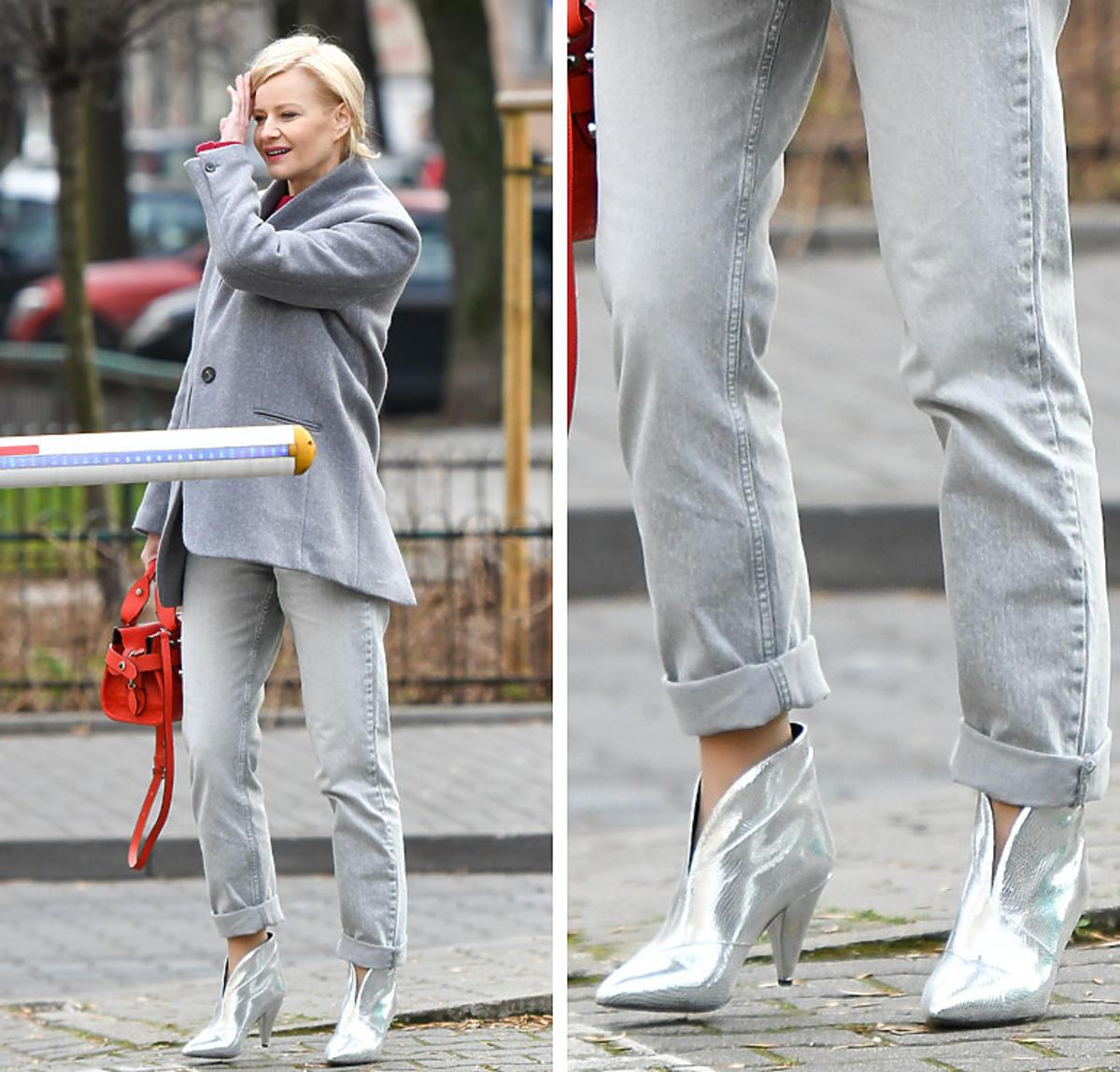 Małgorzata Kożuchowska w srebrnych botkach