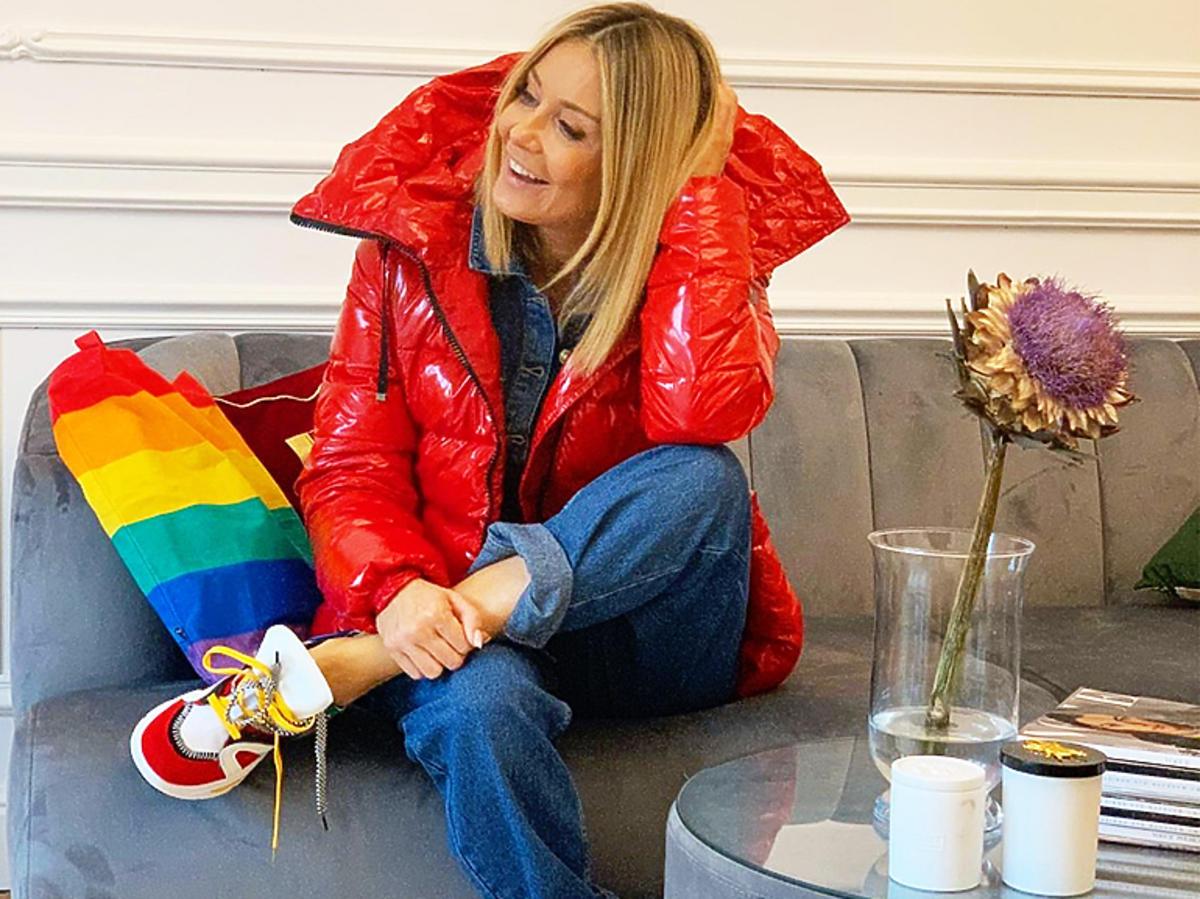 Małgorzata Rozenek-Majdan w czerwonej puchówce zima 2019