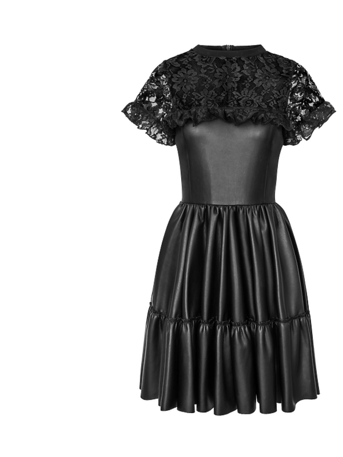 Manifiq&Co, czarna sukienka - koronka połączona ze skórą - 489 zł