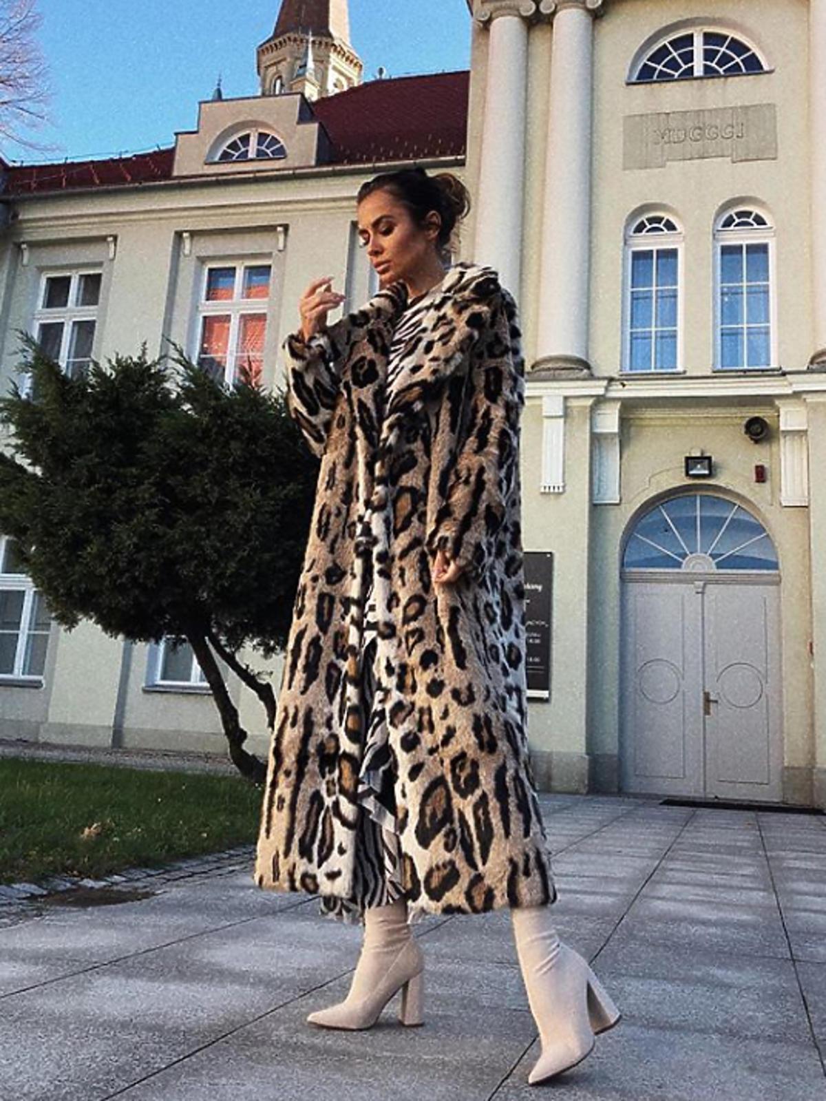 Natalia Siwiec w futrze w cętki