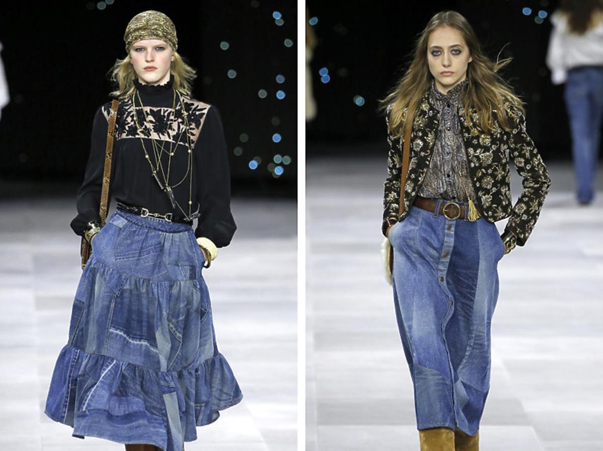 Patchworkowa spódnica midi jest lansowana przez Celine