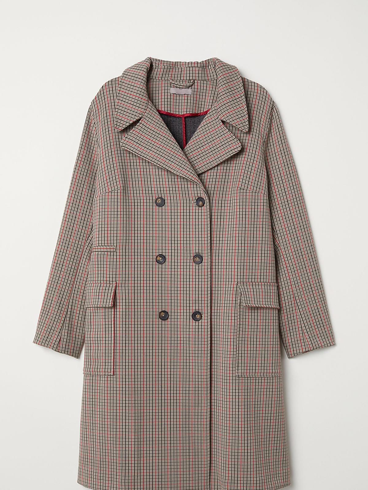 Płaszcz dwurzędowy w kratę, H&M 399 zł