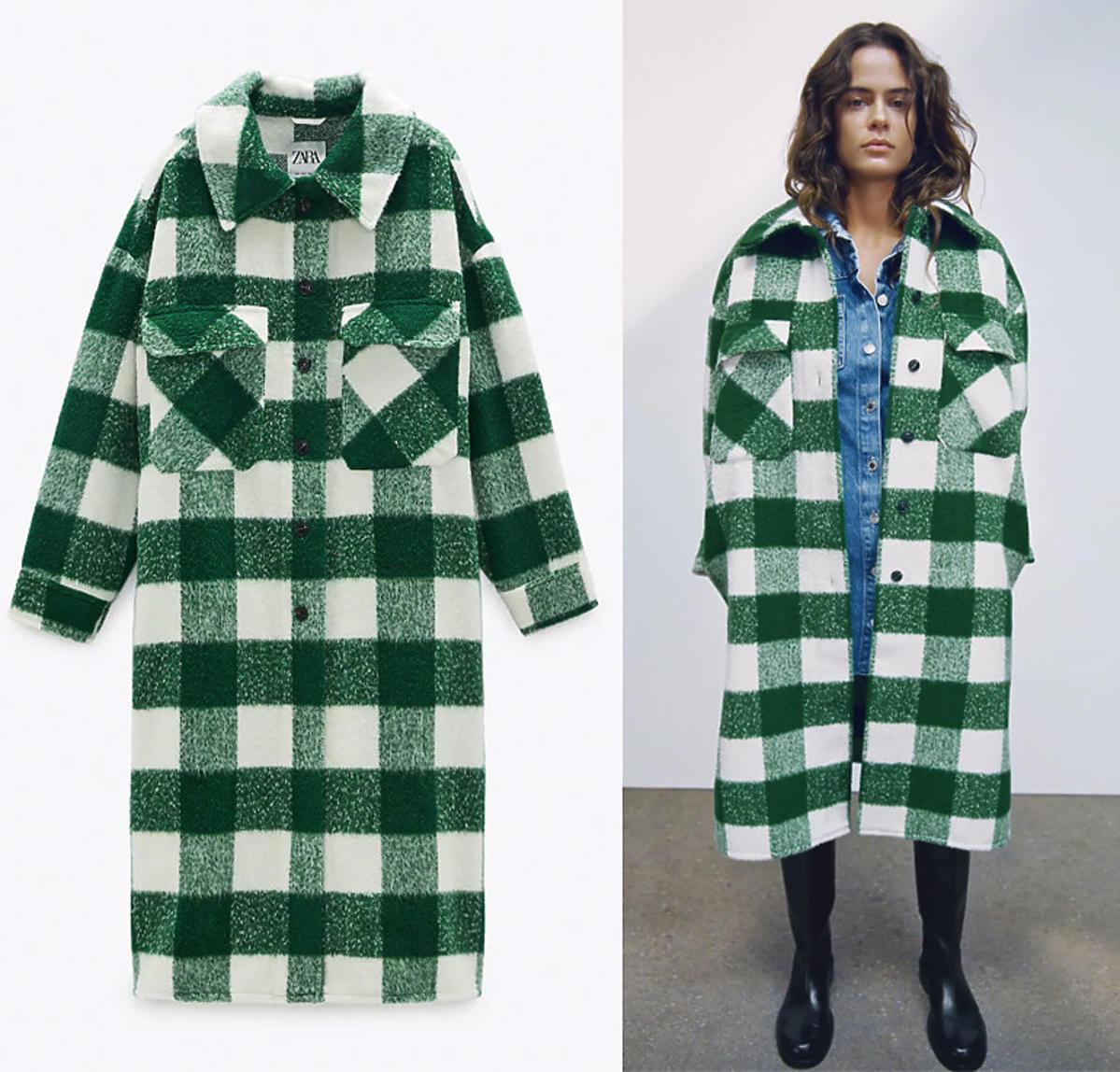 Płaszcz w zieloną kratę, Zara, 249 zł