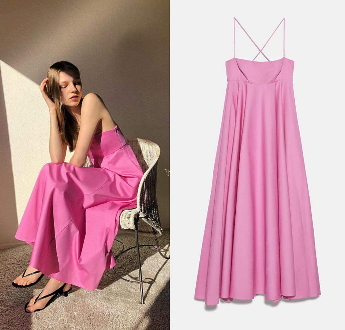 Popelinowa sukienka różowa, Zara, 139,99 zł