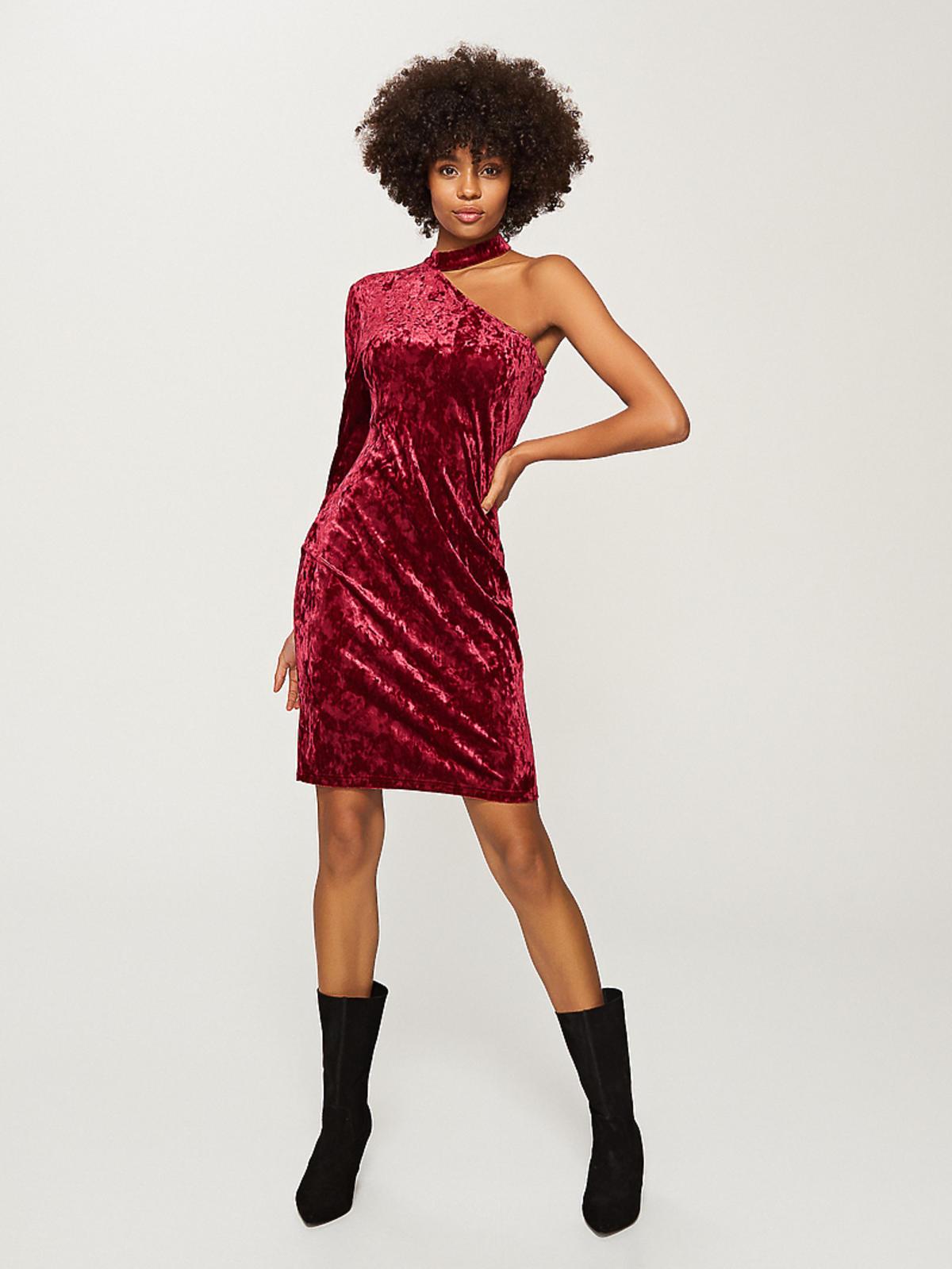 Reserved, Welurowa sukienka z jednym rękawem, 49,99 zł