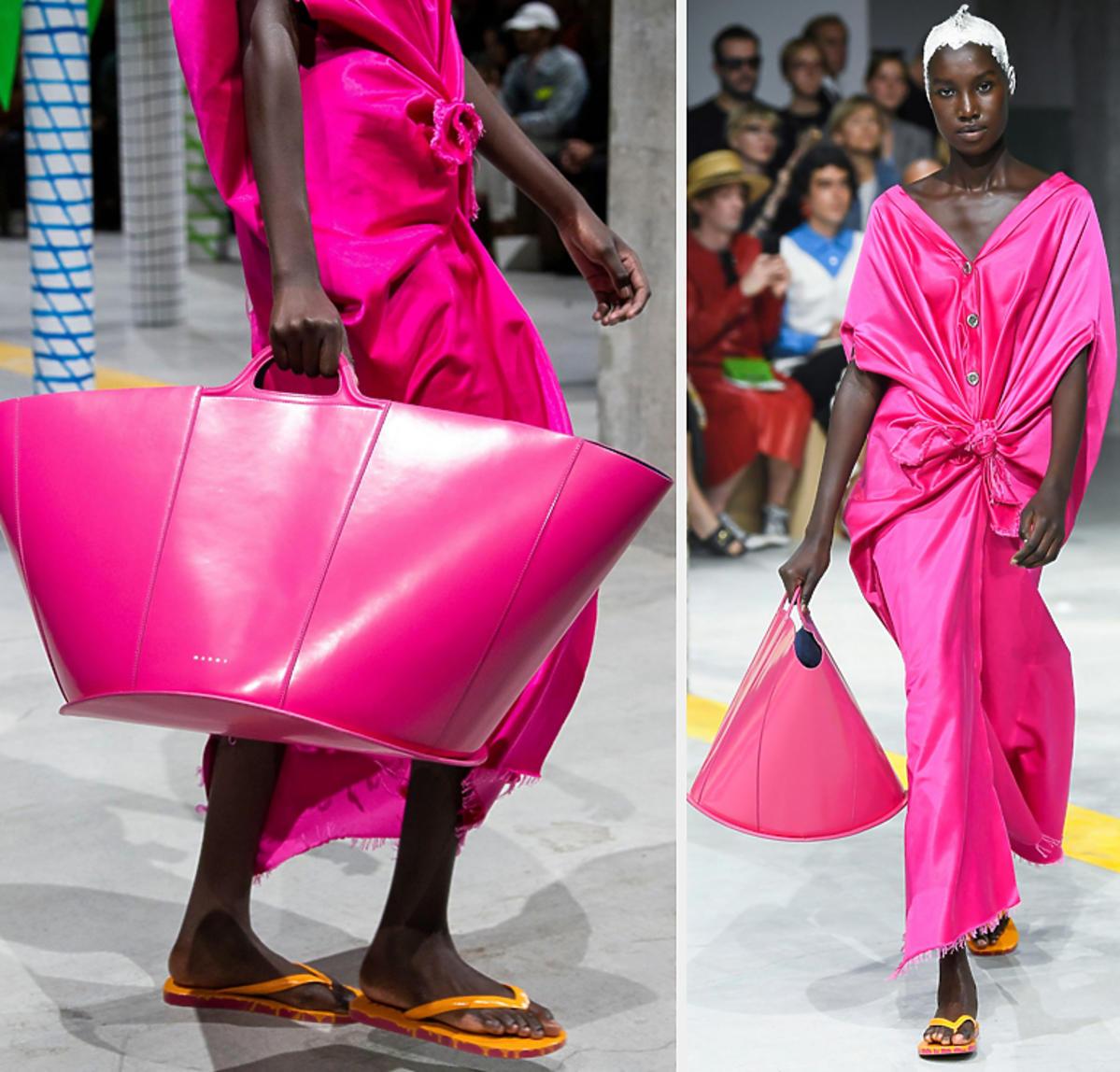 Różowa torebka Marni XXL, trendy wiosna 2020