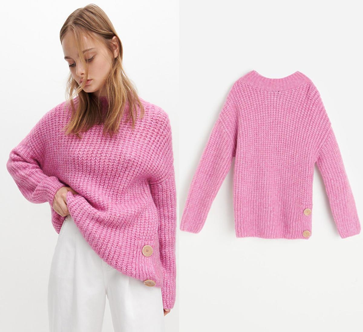 Różowy sweter damski z dzianiny z Reserved
