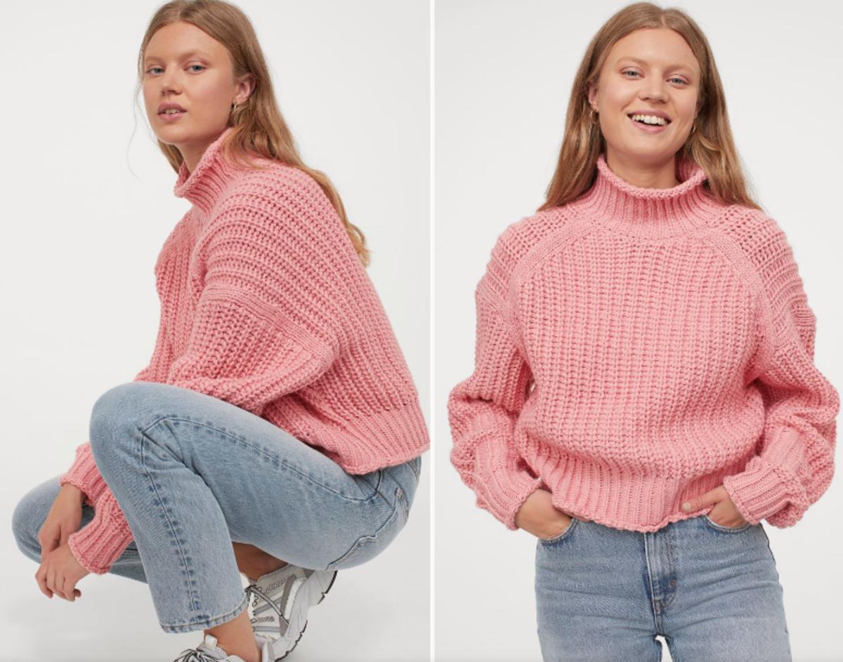 Różowy sweter H&M, 69,90 zł