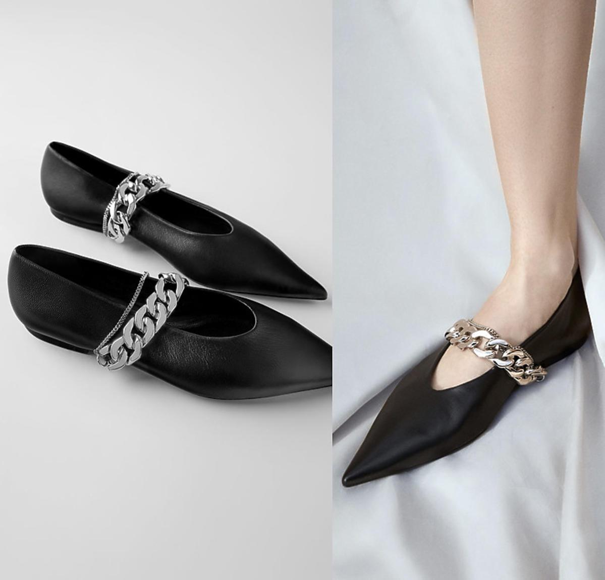 Skórzane balerinki w kolorze czarnym