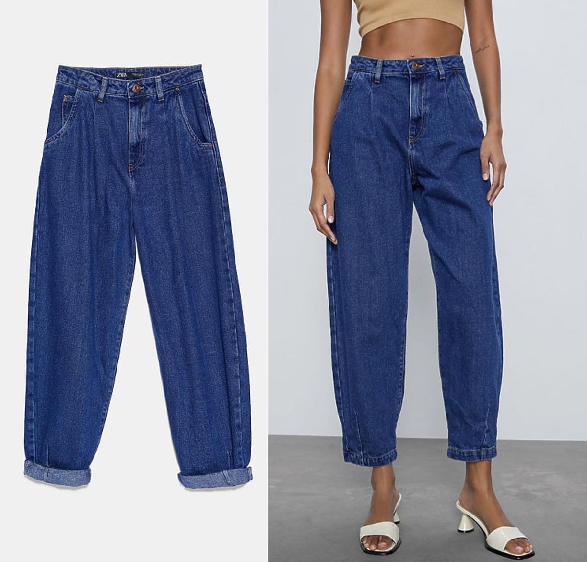 Spodnie typu slouchy o szerokim kroju