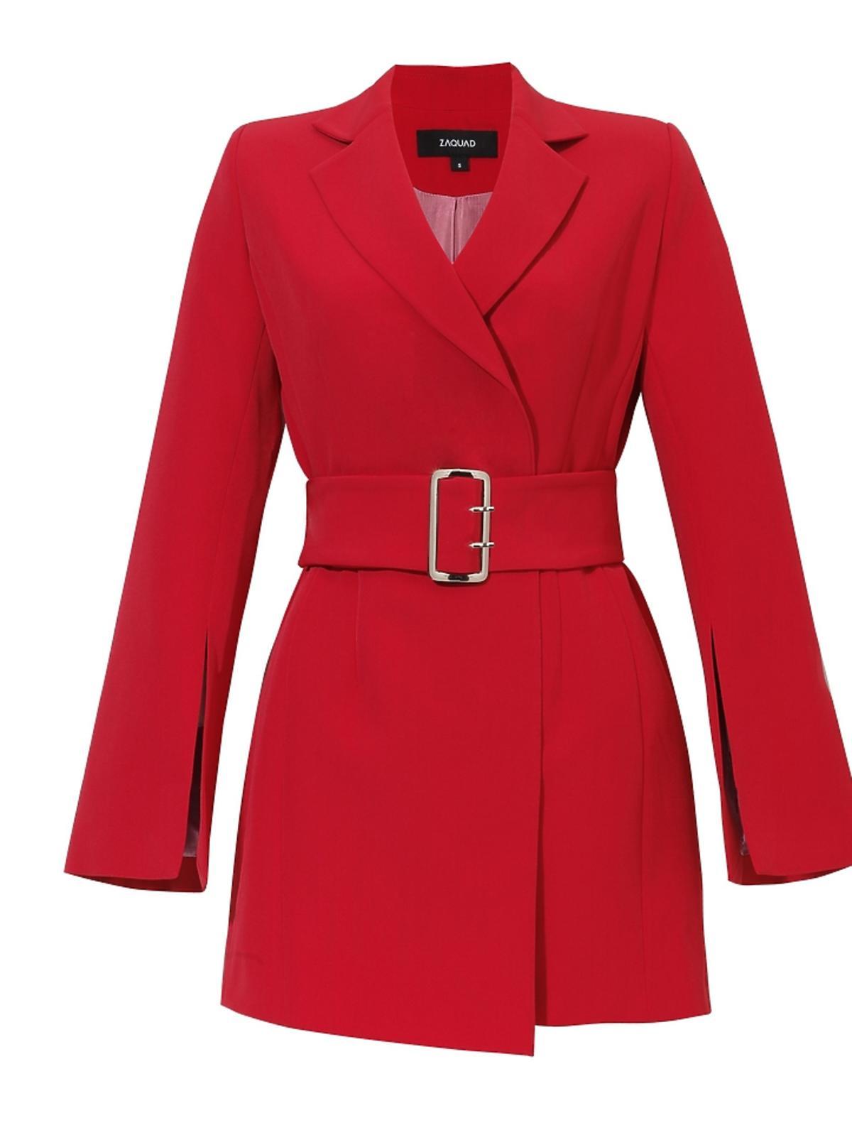 Sukienka marynarkowa czerwona z paskiem 650zł, Zaquad