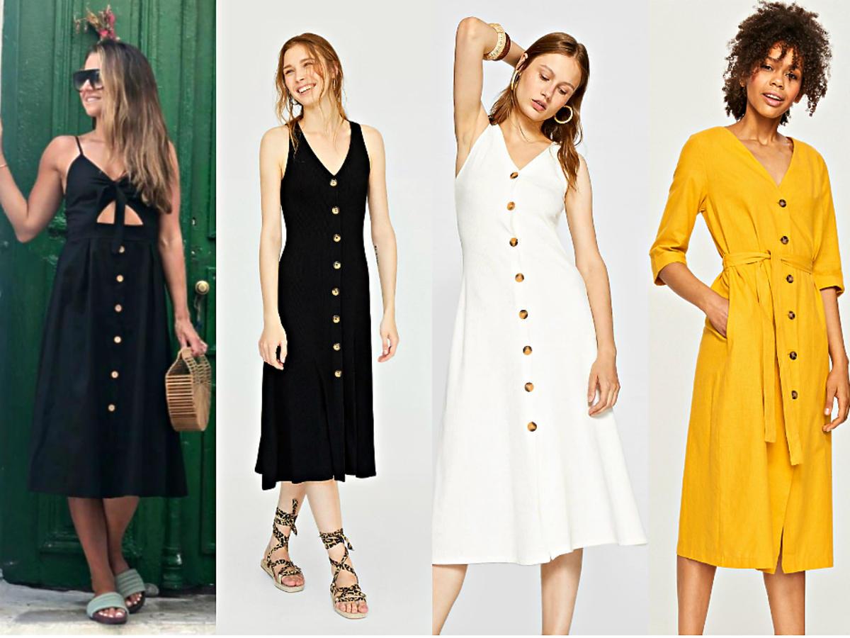 Sukienki z guzikami w stylu Ani Lewandowskiej