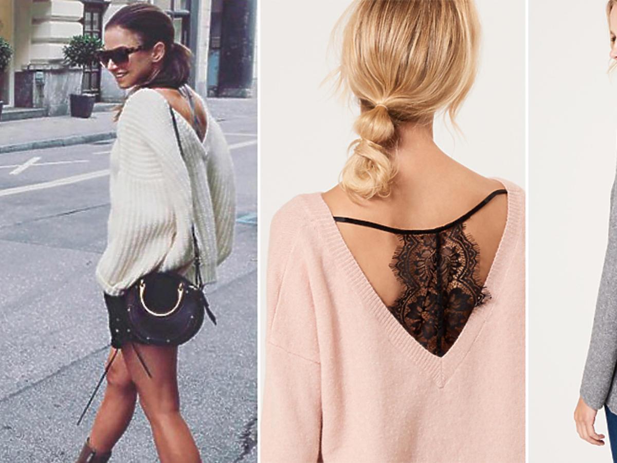 Swetry w stylu Anny Lewandowskiej z dekoltem na plecach