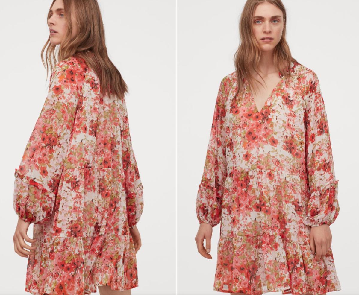 Szyfonowa sukienka w kwiaty H&M z wyprzedaży