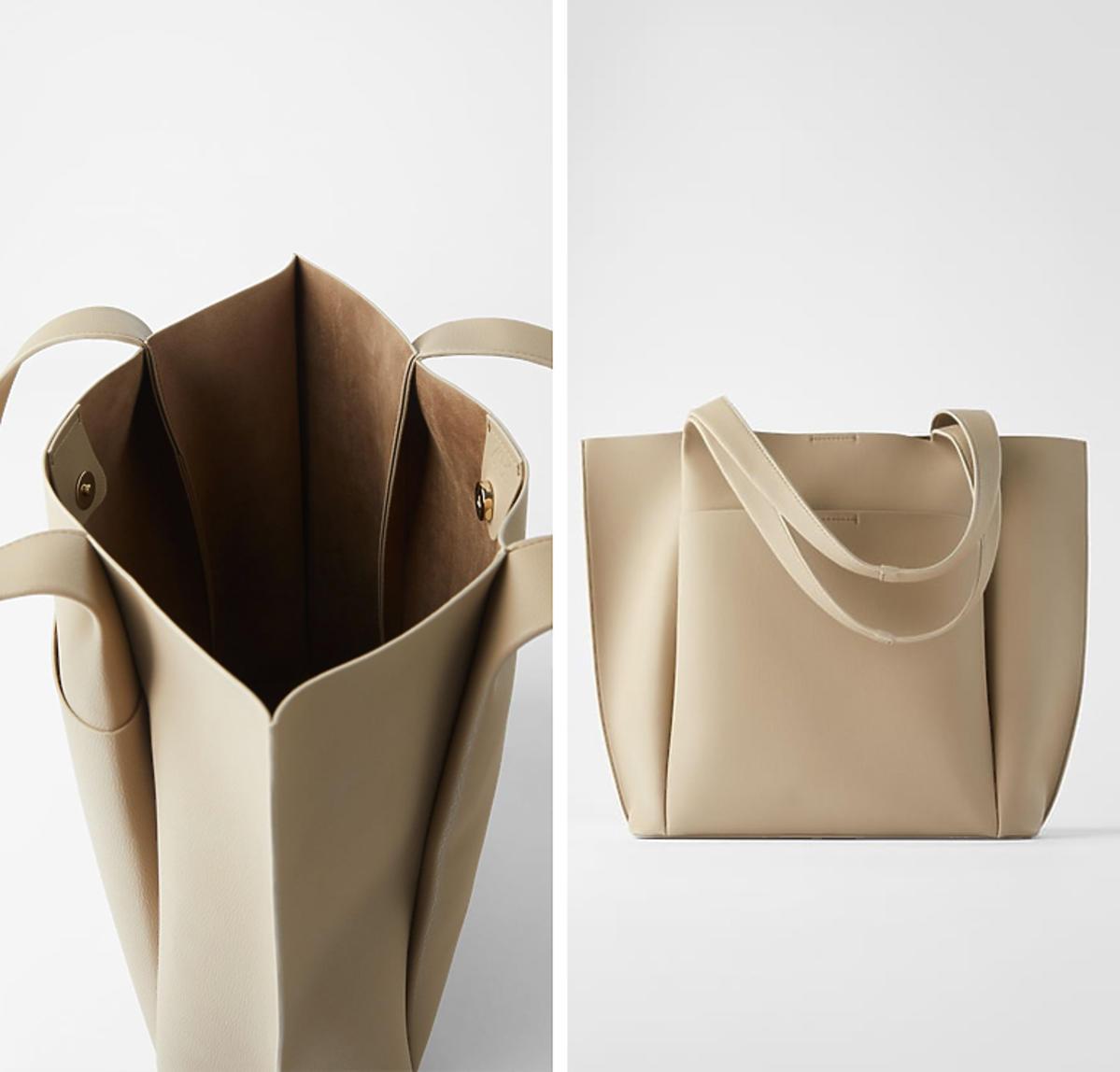 Torba typu shopper w kolorze szarobrązowym, Zara, 99 złotych