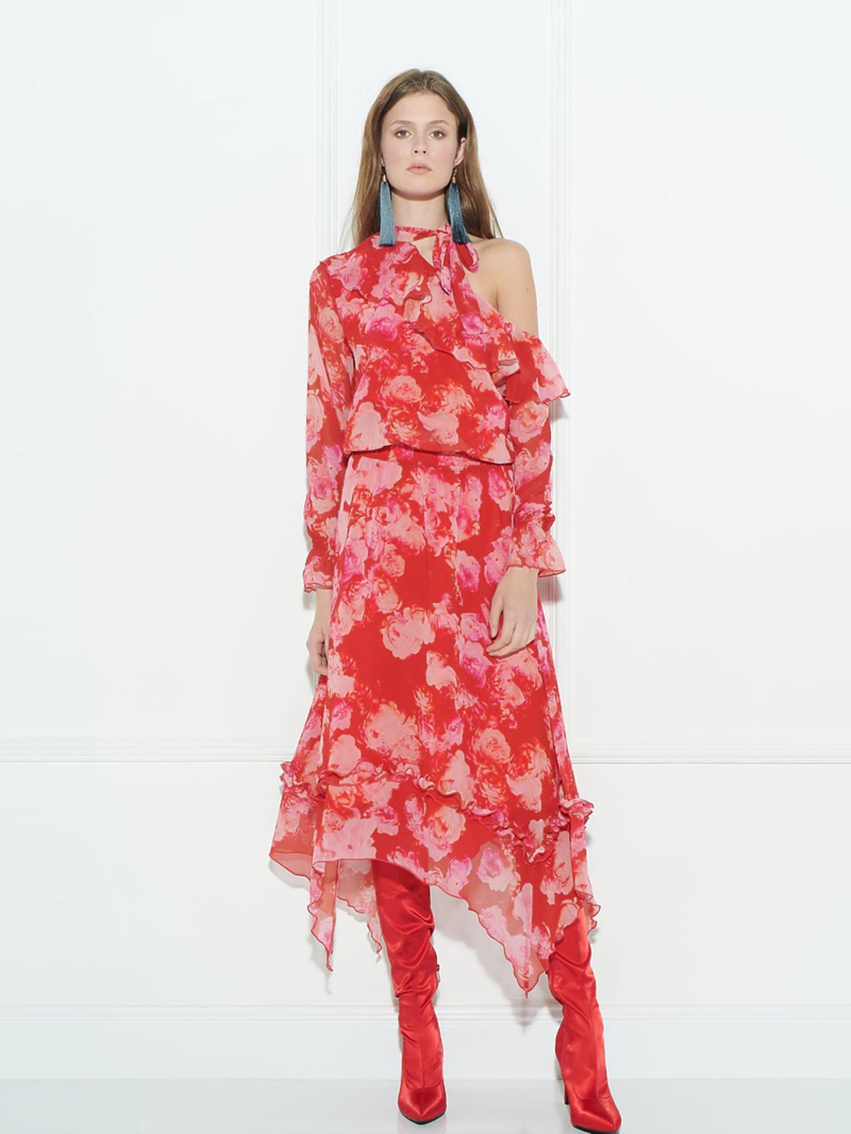 Zaquad, kwiecista czerwona sukienka z odkrytym ramieniem, cena 920zł