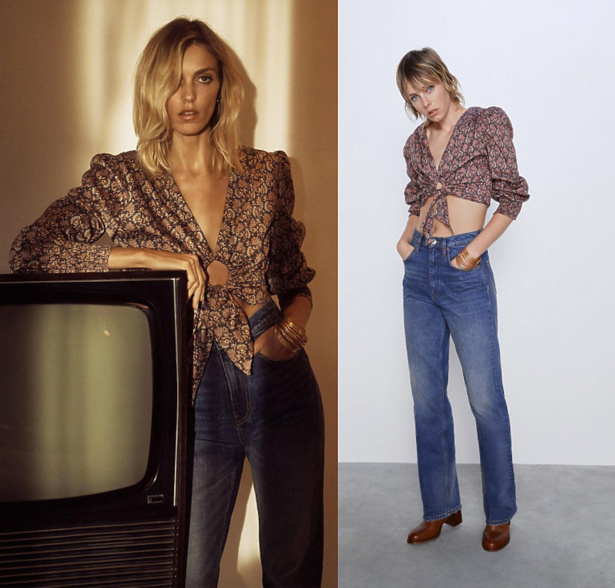 Zara, krótka boho bluzka