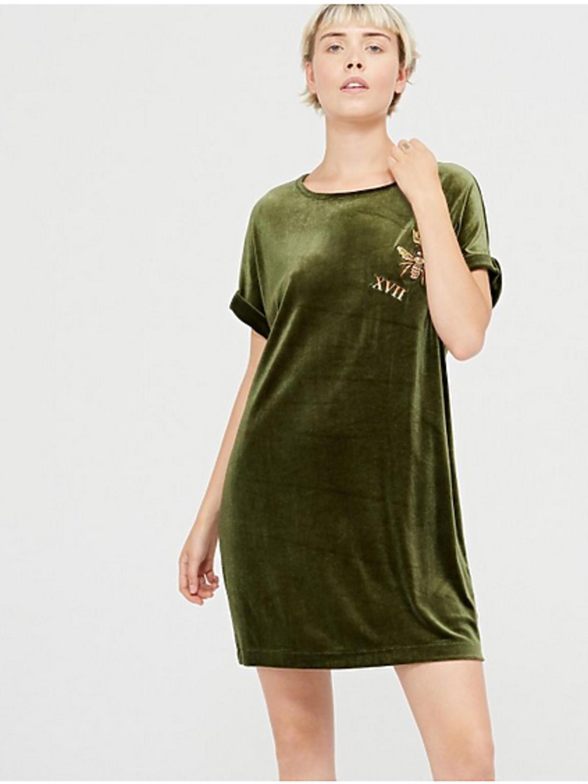 Zielona welurowa sukienka, Cropp, 39 złotych