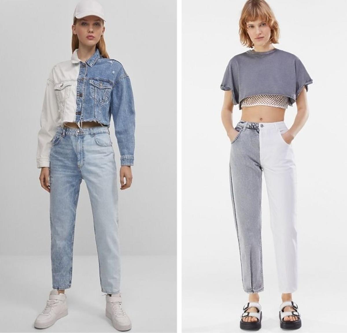 Dwukolorowe jeansy Bershka