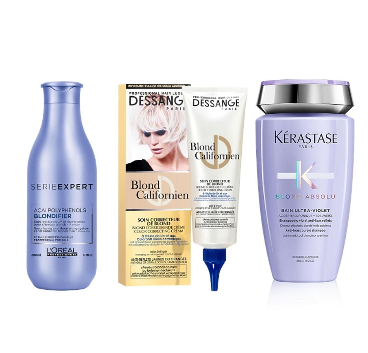 Kosmetyki ochładzające kolor włosów blond: L'Oréal Professionnel, Dessange, Kérastase