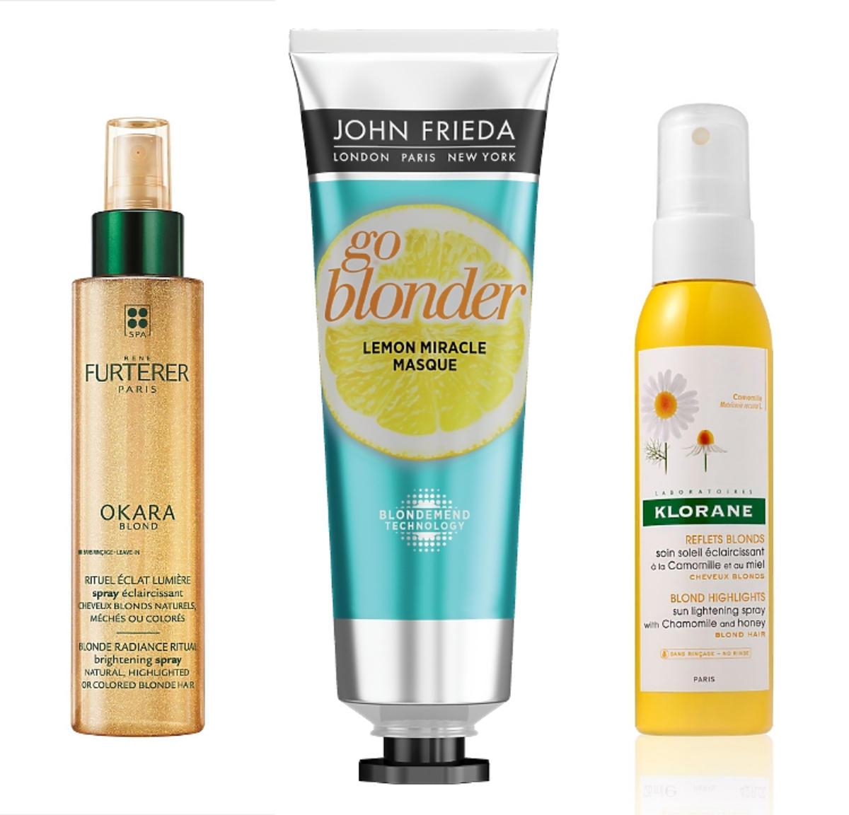 Kosmetyki rozjaśniające włosy blond: Rene Furterer, John Frieda, Klorane