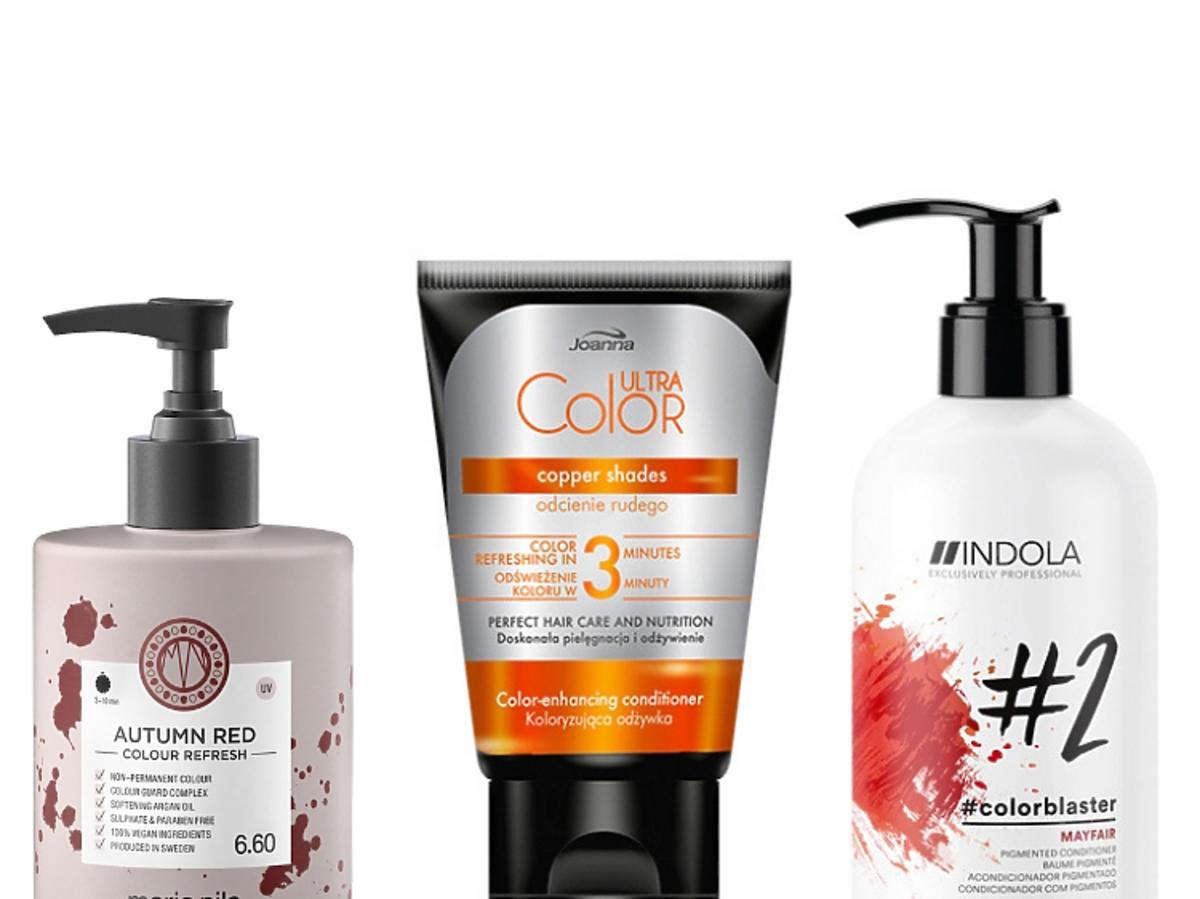 Kosmetyki wzmacniające kolor rudych włosów: Maria NIla, Joanna, Indola