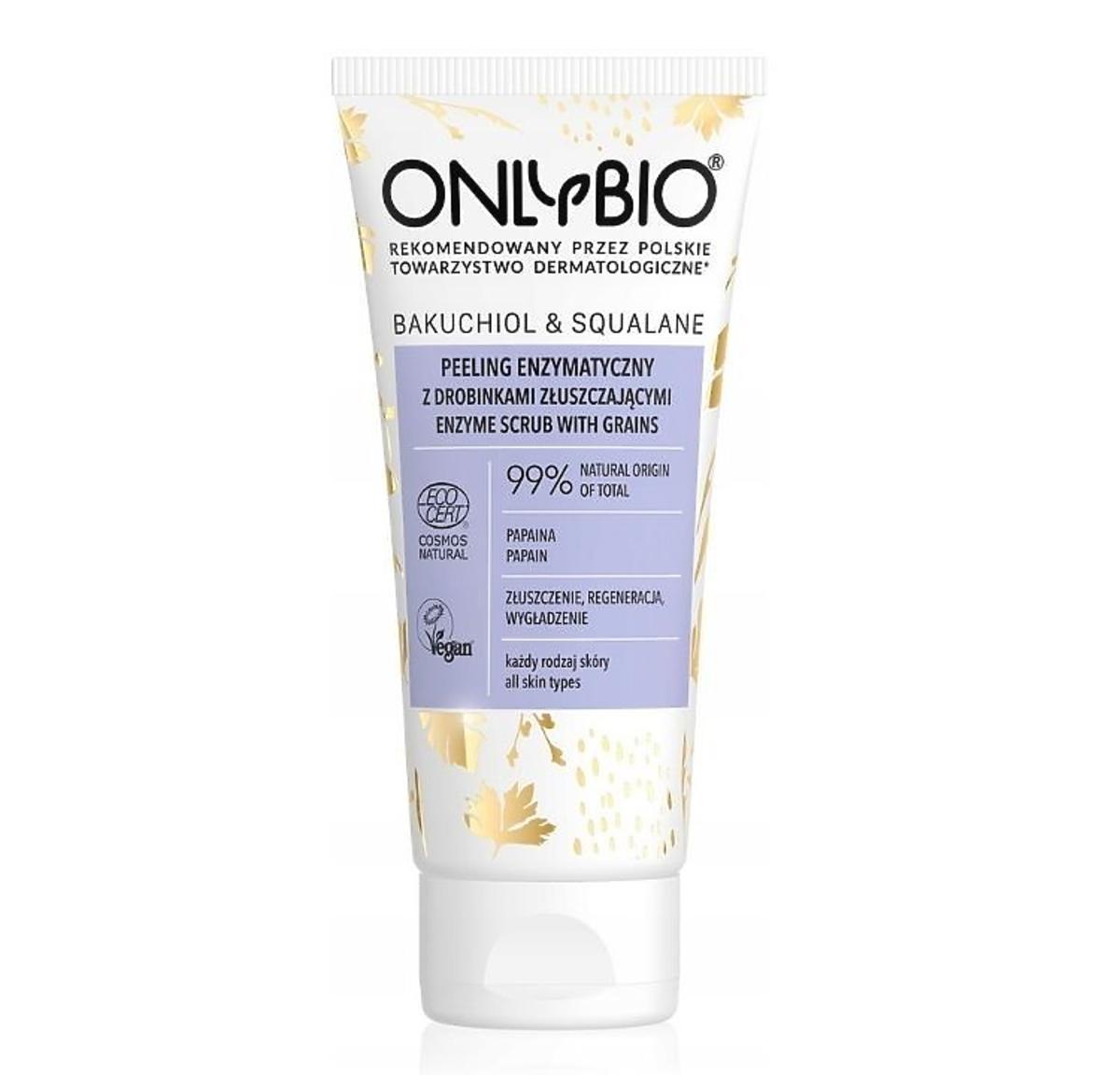Peeling enzymatyczny z drobinkami złuszczającymi do twarzy Bakuhiol&Skwalan OnlyBio