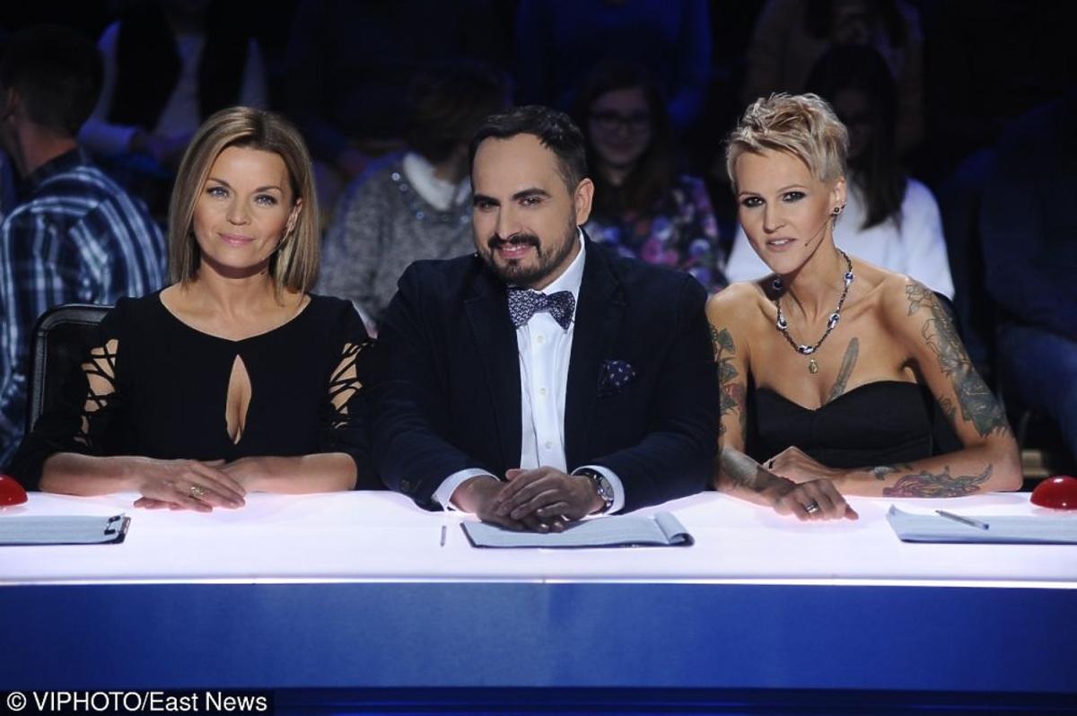 Agnieszka Chylińska, Agustin Egurrola, Małgorzata Foremniak pozują do zdjęć w finale Mam talent