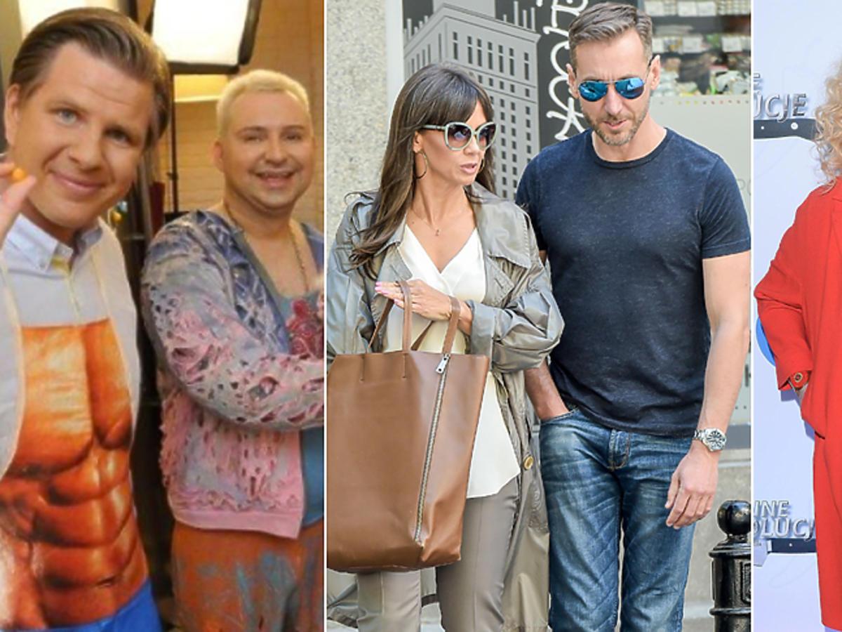 Kinga Rusin i Piotr Kraśko wychodzą z DDTVN, Magda Gessler pozuje do zdjęć  w okularach przeciwsłonecznych