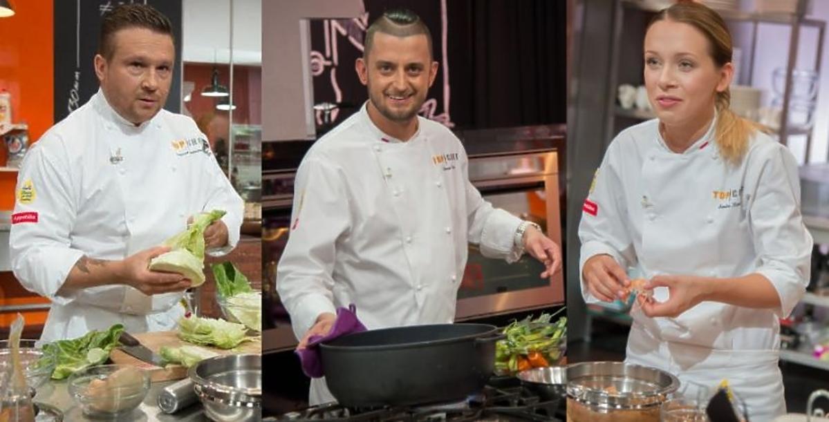 Sandra Kotowicz, Tomasz Purol, Sergiusz Hieronimczak gotują w programie Top Chef