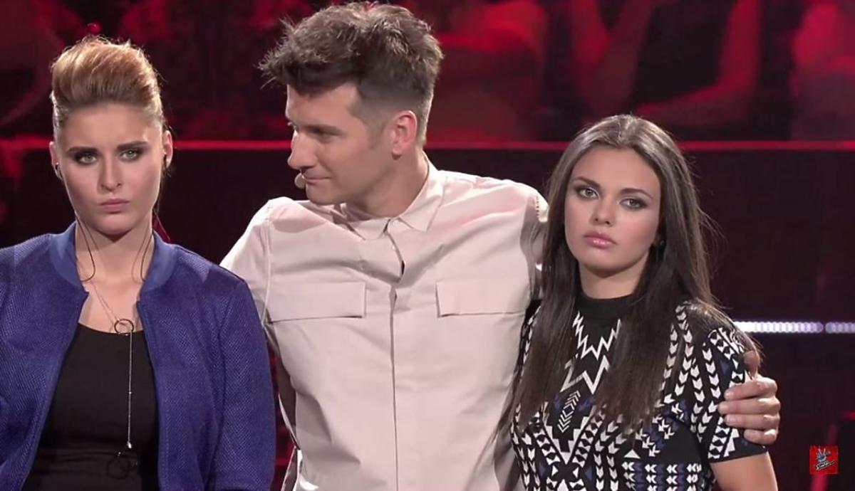 Sara Girgis, Ana Andrzejewska, Tomasz Kammel na planie The Voice of Poland